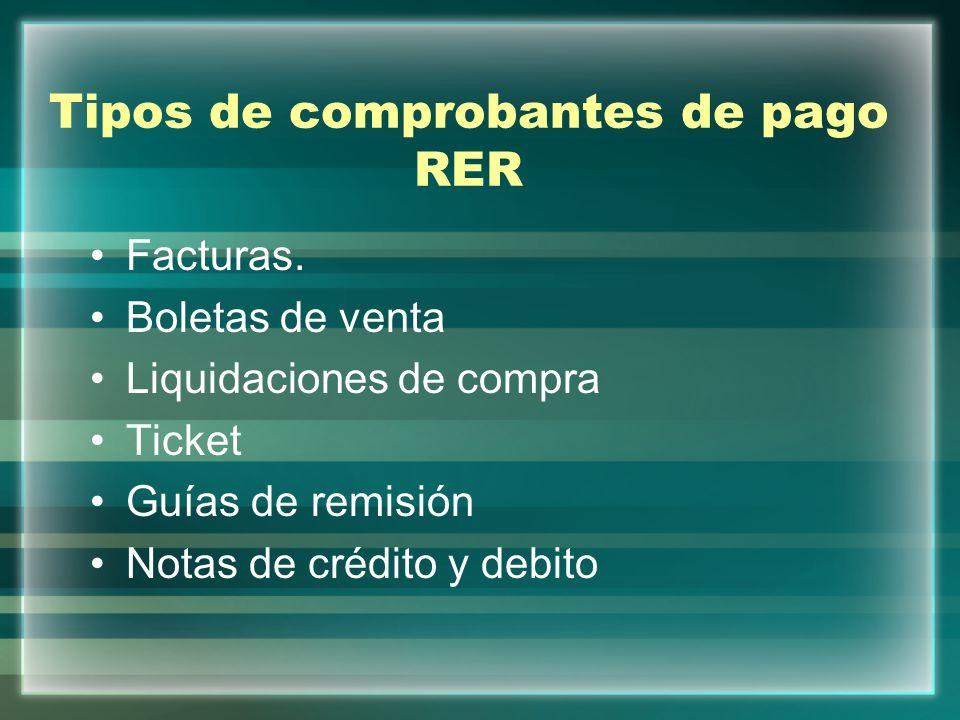 Tipos de comprobantes de pago RER