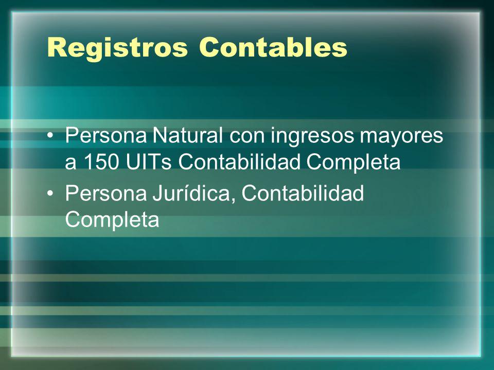 Registros Contables Persona Natural con ingresos mayores a 150 UITs Contabilidad Completa.