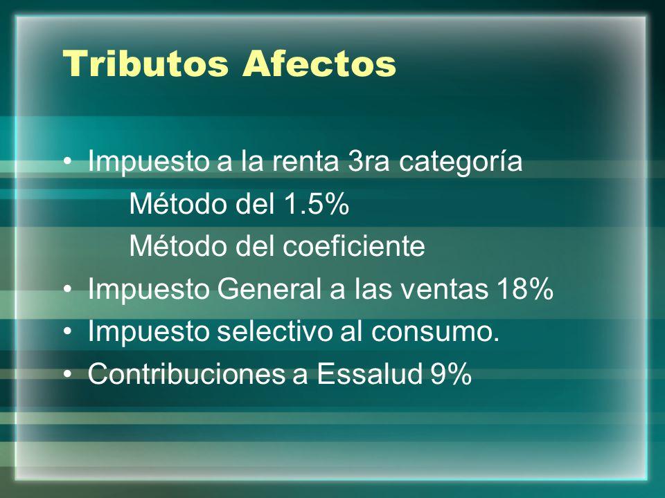Tributos Afectos Impuesto a la renta 3ra categoría Método del 1.5%