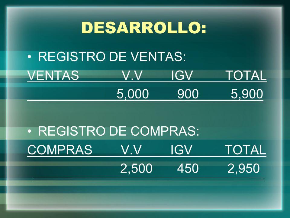 DESARROLLO: REGISTRO DE VENTAS: VENTAS V.V IGV TOTAL 5,000 900 5,900