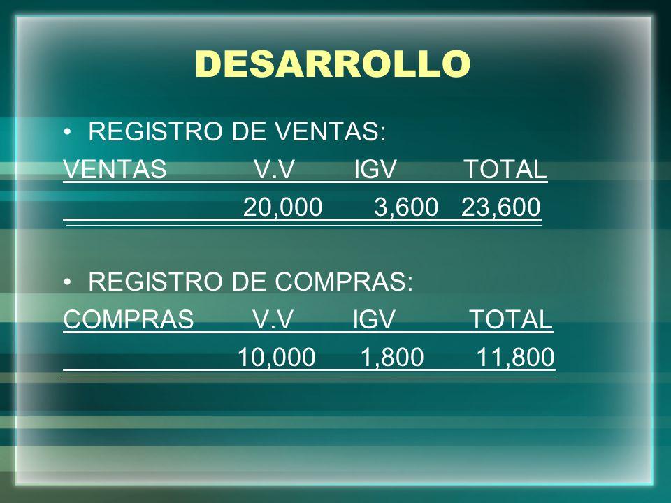 DESARROLLO REGISTRO DE VENTAS: VENTAS V.V IGV TOTAL