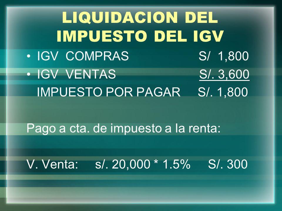LIQUIDACION DEL IMPUESTO DEL IGV