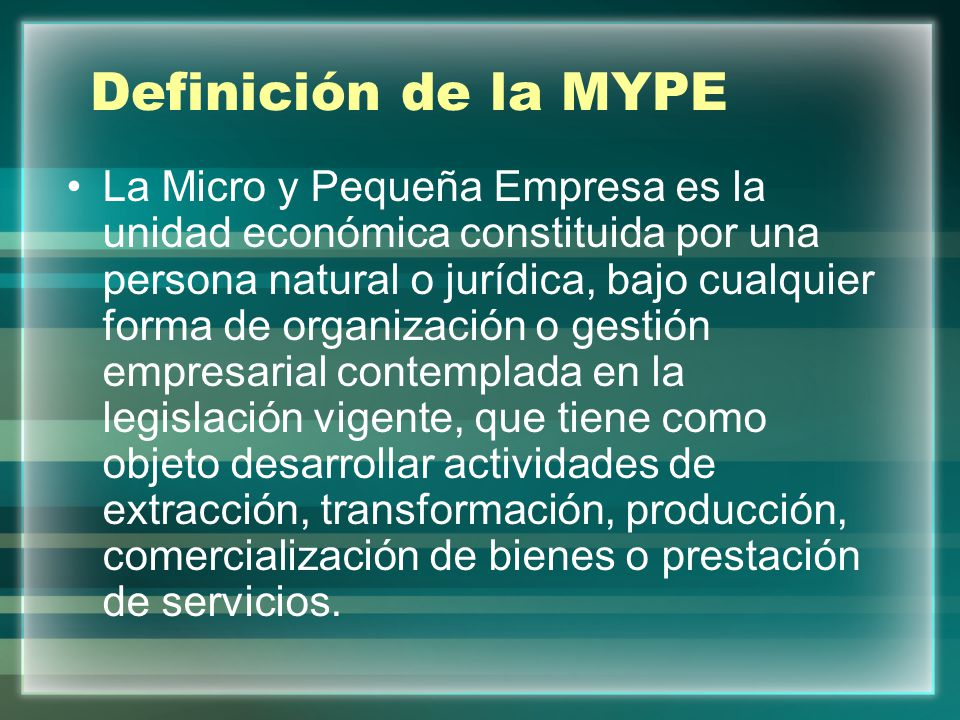 Definición de la MYPE
