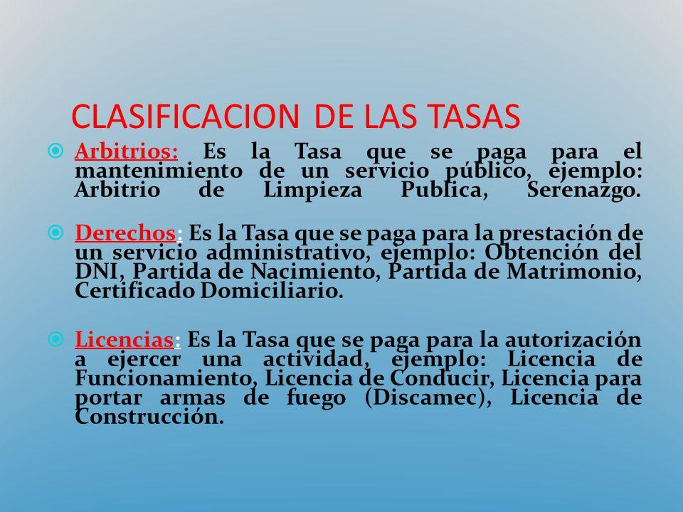 CLASIFICACION DE LAS TASAS