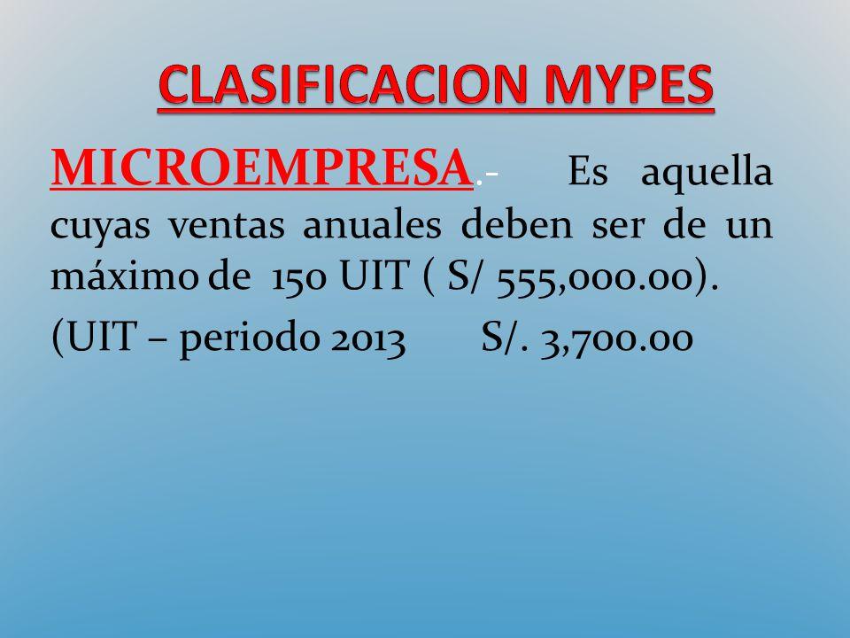 CLASIFICACION MYPES MICROEMPRESA.- Es aquella cuyas ventas anuales deben ser de un máximo de 150 UIT ( S/ 555,000.00).