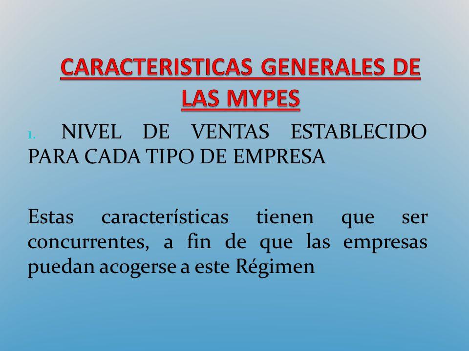 CARACTERISTICAS GENERALES DE LAS MYPES
