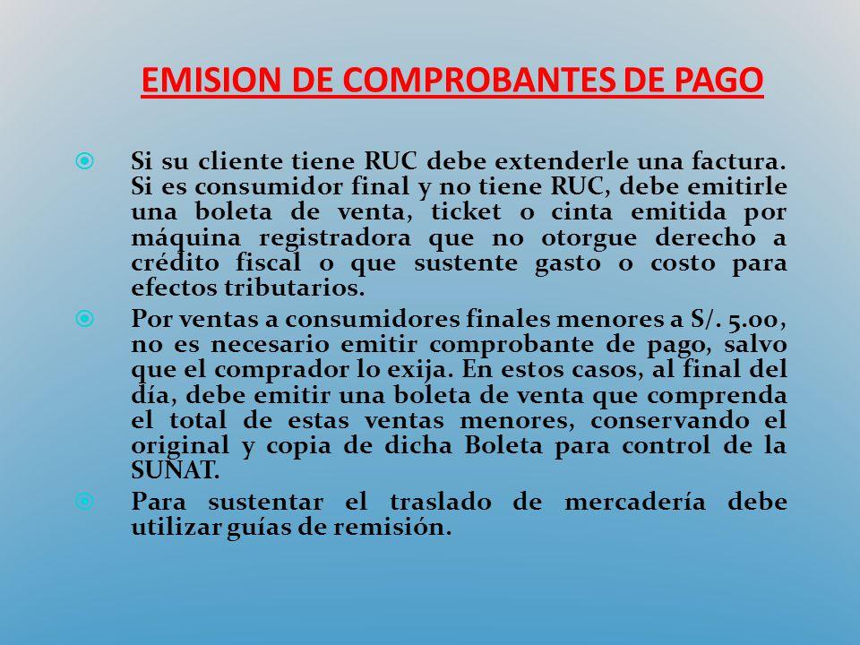 EMISION DE COMPROBANTES DE PAGO