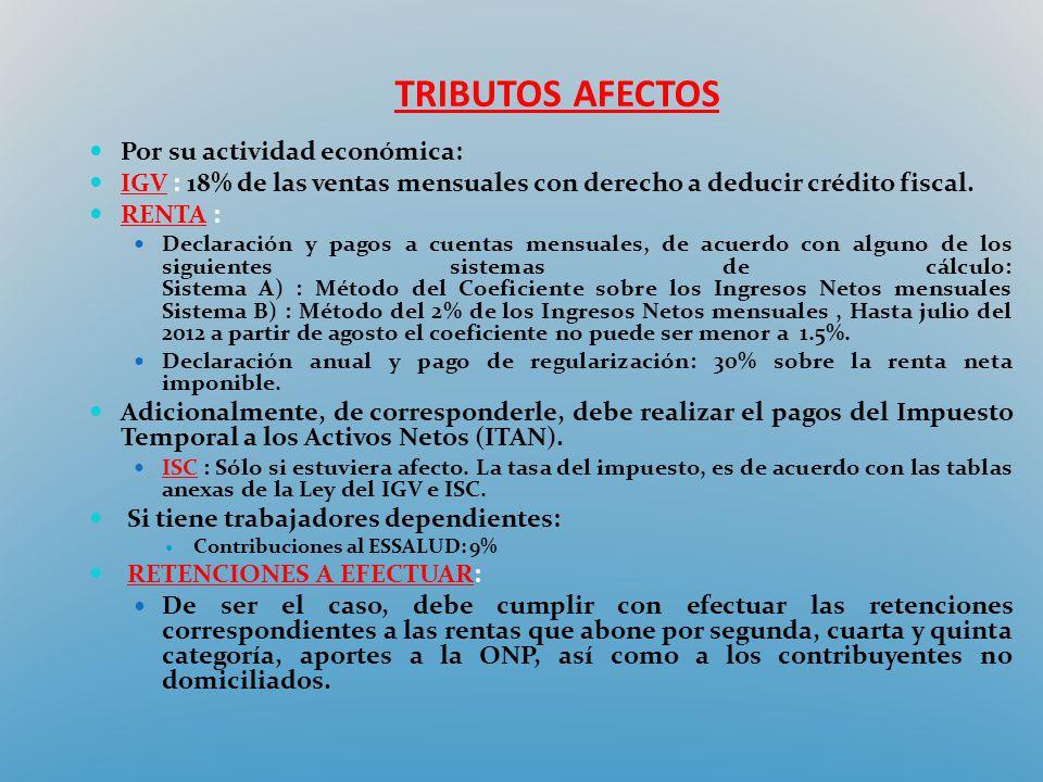 TRIBUTOS AFECTOS Por su actividad económica: