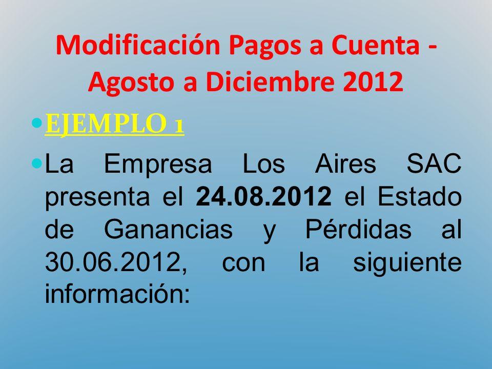 Modificación Pagos a Cuenta - Agosto a Diciembre 2012