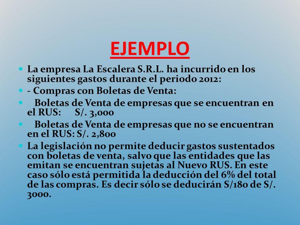 EJEMPLO La empresa La Escalera S.R.L. ha incurrido en los siguientes gastos durante el periodo 2012: