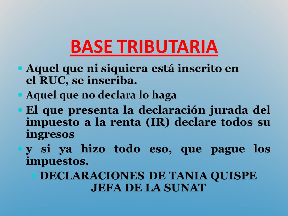 DECLARACIONES DE TANIA QUISPE JEFA DE LA SUNAT