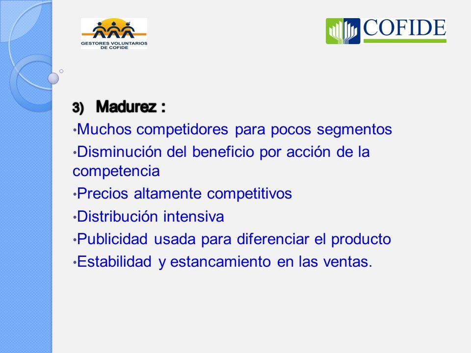 Madurez : Muchos competidores para pocos segmentos. Disminución del beneficio por acción de la competencia.