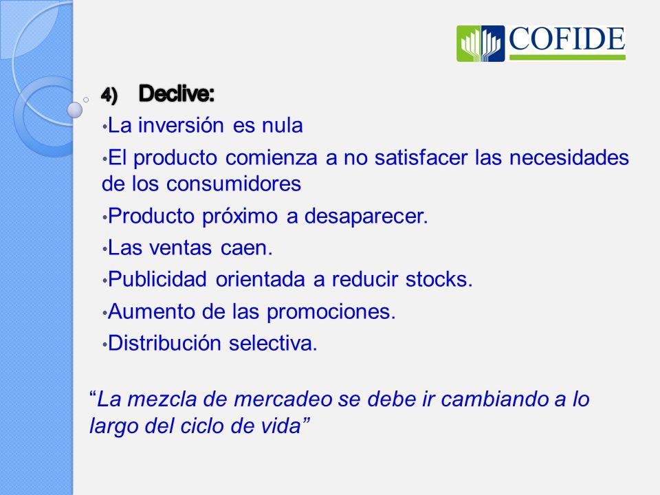 Declive: La inversión es nula. El producto comienza a no satisfacer las necesidades de los consumidores.