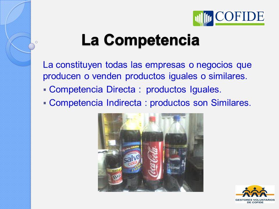 La Competencia La constituyen todas las empresas o negocios que producen o venden productos iguales o similares.