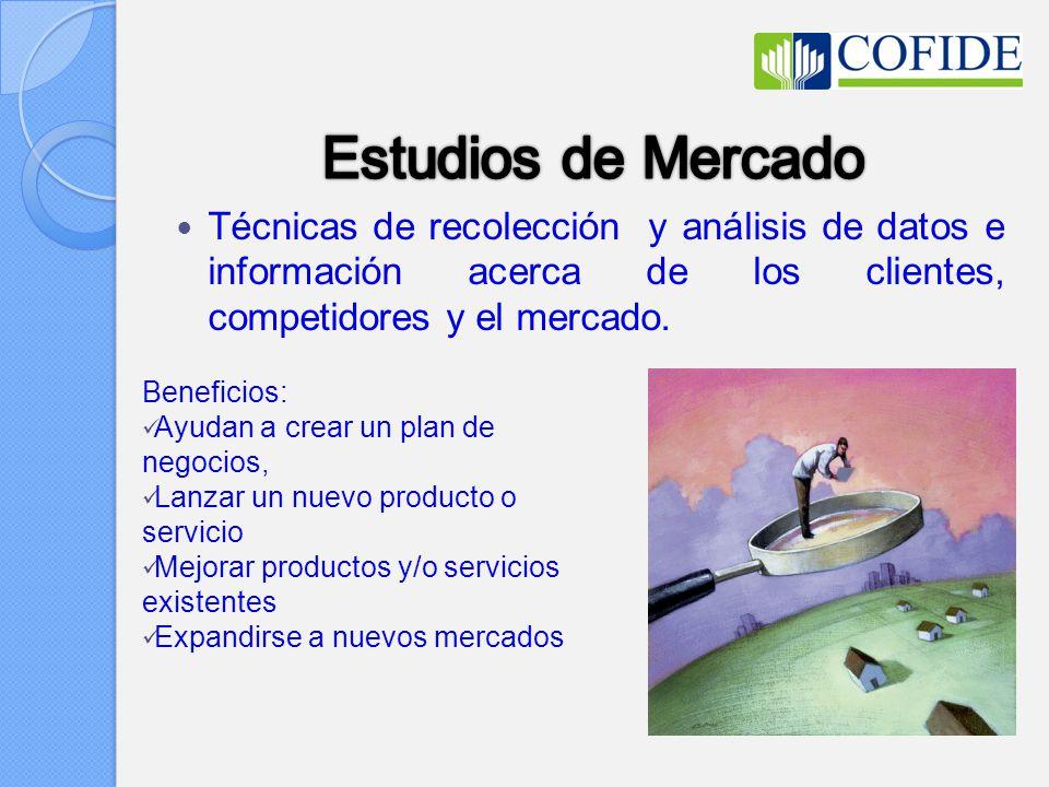Estudios de Mercado Técnicas de recolección y análisis de datos e información acerca de los clientes, competidores y el mercado.