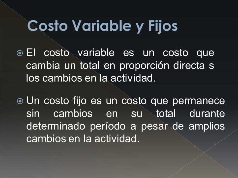 Costo Variable y Fijos El costo variable es un costo que cambia un total en proporción directa s los cambios en la actividad.