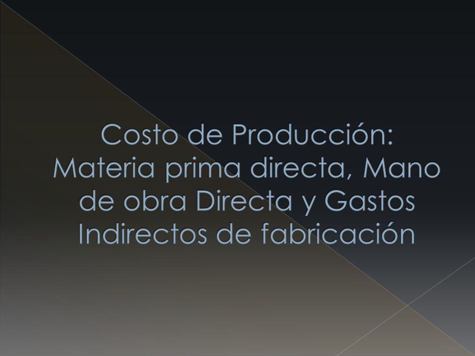 Costo de Producción: Materia prima directa, Mano de obra Directa y Gastos Indirectos de fabricación