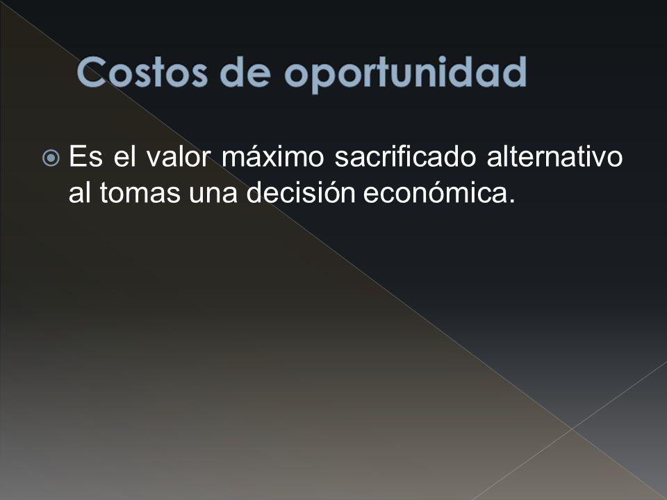 Costos de oportunidad Es el valor máximo sacrificado alternativo al tomas una decisión económica.