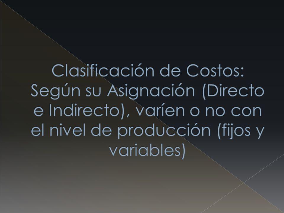 Clasificación de Costos: Según su Asignación (Directo e Indirecto), varíen o no con el nivel de producción (fijos y variables)