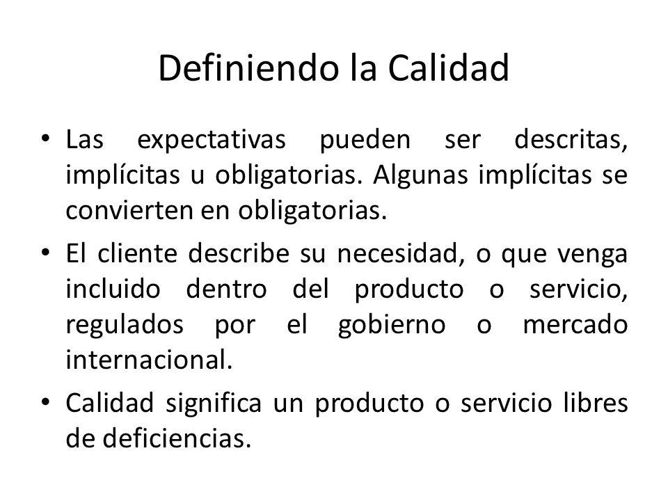 Definiendo la Calidad Las expectativas pueden ser descritas, implícitas u obligatorias. Algunas implícitas se convierten en obligatorias.
