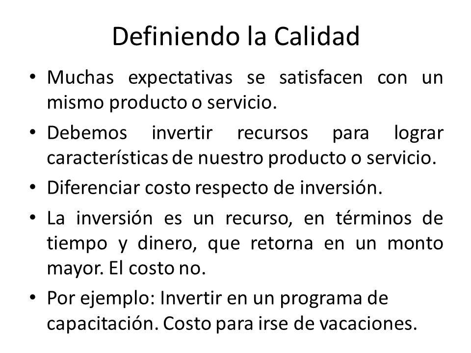 Definiendo la Calidad Muchas expectativas se satisfacen con un mismo producto o servicio.