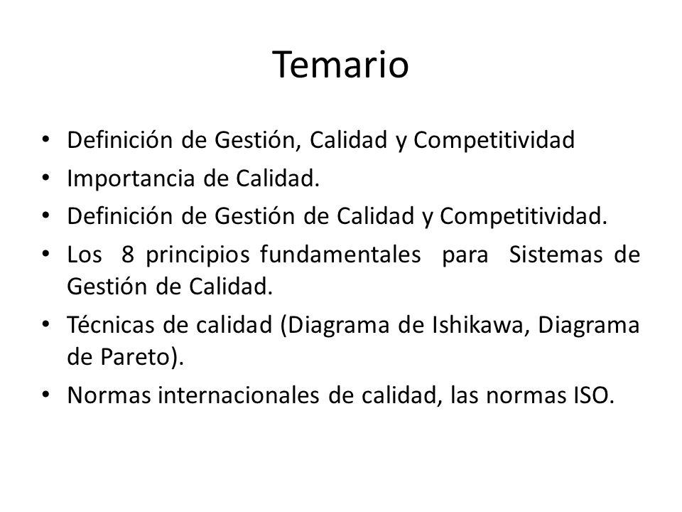 Temario Definición de Gestión, Calidad y Competitividad
