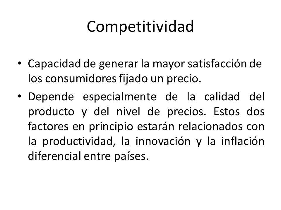 Competitividad Capacidad de generar la mayor satisfacción de los consumidores fijado un precio.