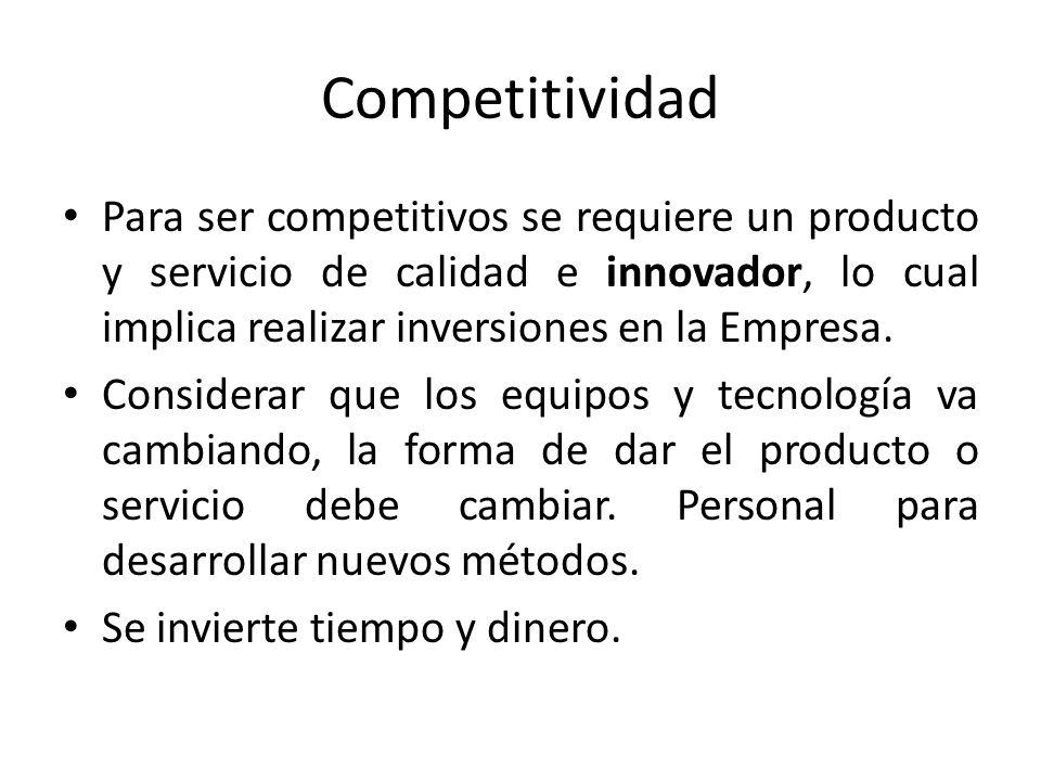 Competitividad Para ser competitivos se requiere un producto y servicio de calidad e innovador, lo cual implica realizar inversiones en la Empresa.