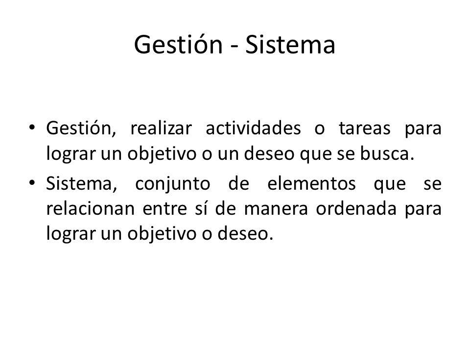 Gestión - Sistema Gestión, realizar actividades o tareas para lograr un objetivo o un deseo que se busca.