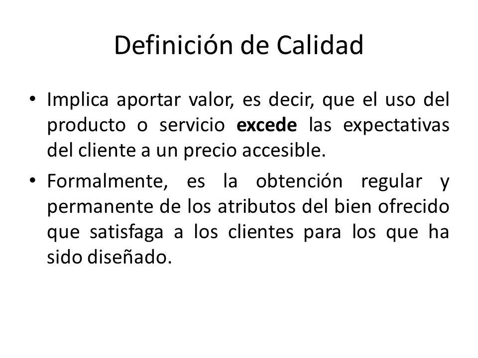 Definición de Calidad Implica aportar valor, es decir, que el uso del producto o servicio excede las expectativas del cliente a un precio accesible.