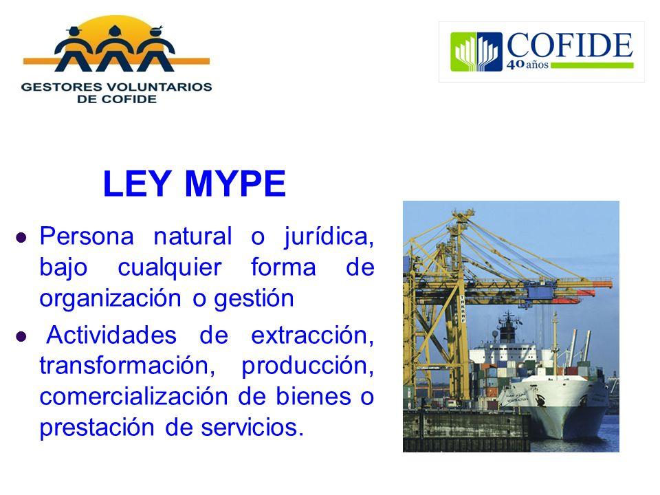 LEY MYPE Persona natural o jurídica, bajo cualquier forma de organización o gestión.