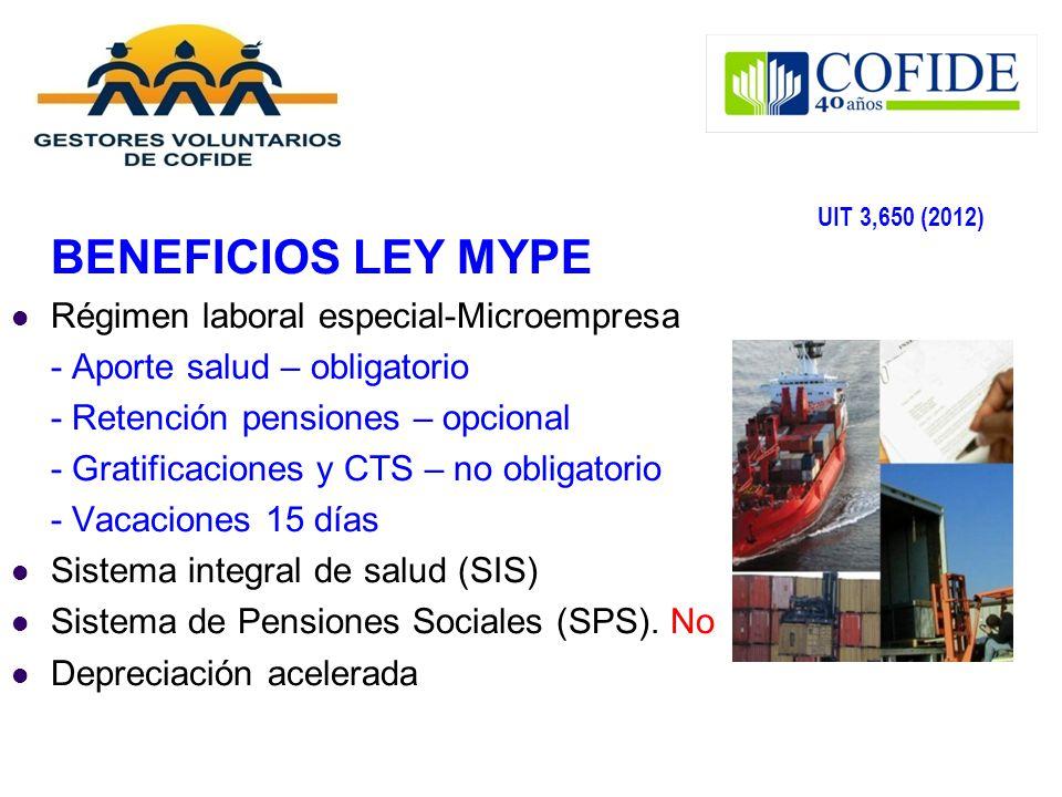 BENEFICIOS LEY MYPE UIT 3,650 (2012)