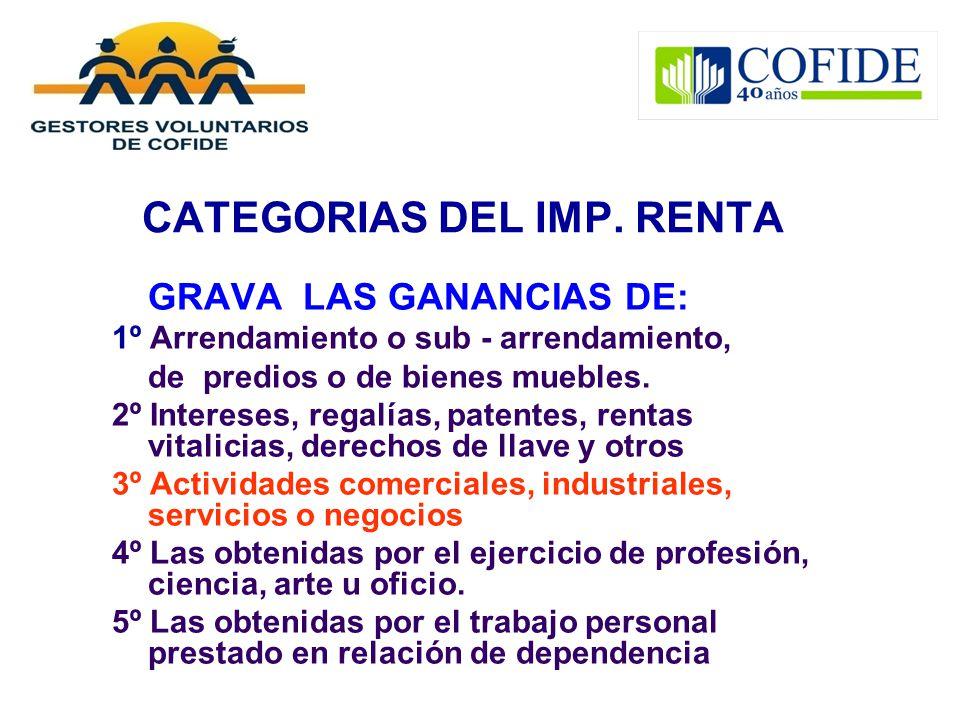 CATEGORIAS DEL IMP. RENTA