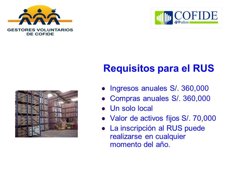 Requisitos para el RUS Ingresos anuales S/. 360,000