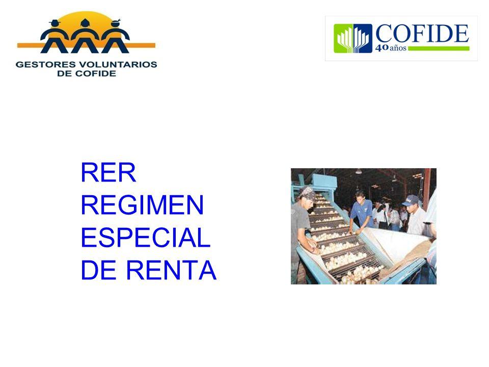 RER REGIMEN ESPECIAL DE RENTA