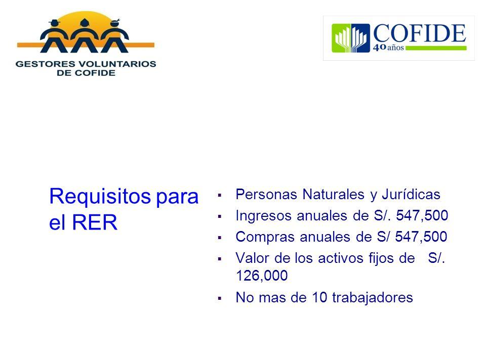 Requisitos para el RER Personas Naturales y Jurídicas