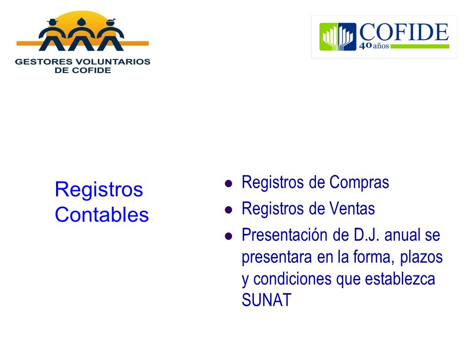 Registros Contables Registros de Compras Registros de Ventas