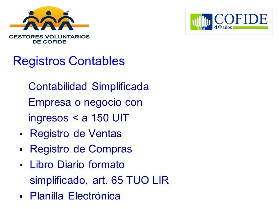 Registros Contables Contabilidad Simplificada Empresa o negocio con
