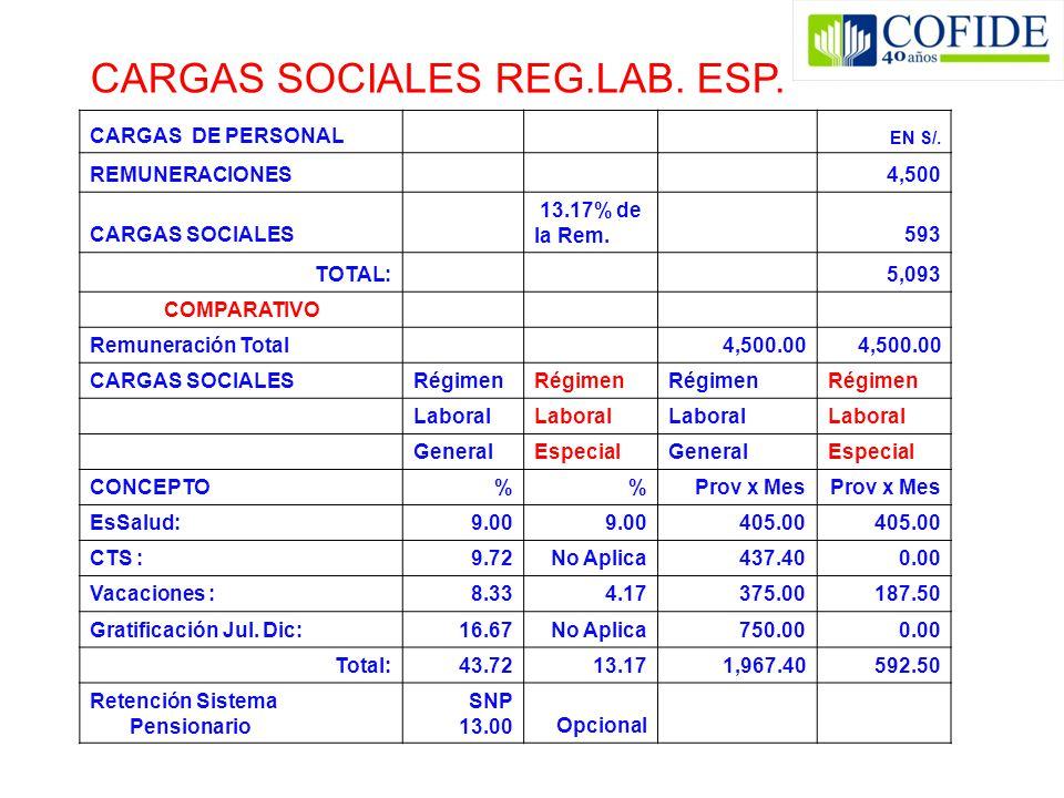 CARGAS SOCIALES REG.LAB. ESP.