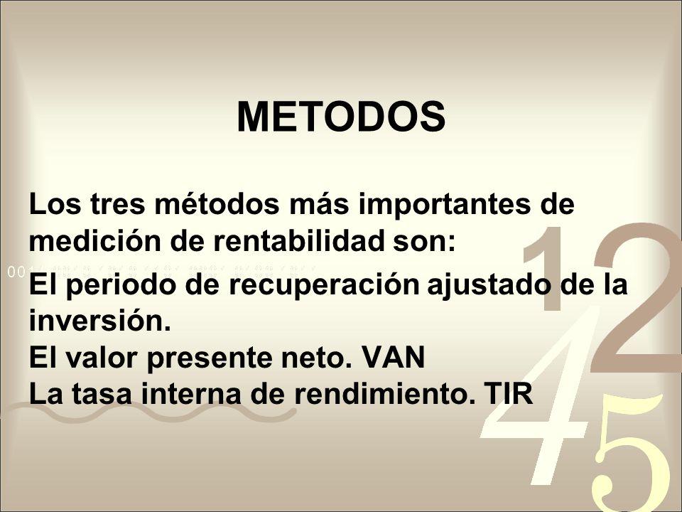 METODOS Los tres métodos más importantes de medición de rentabilidad son: