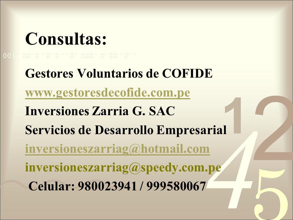 Consultas: Gestores Voluntarios de COFIDE www.gestoresdecofide.com.pe
