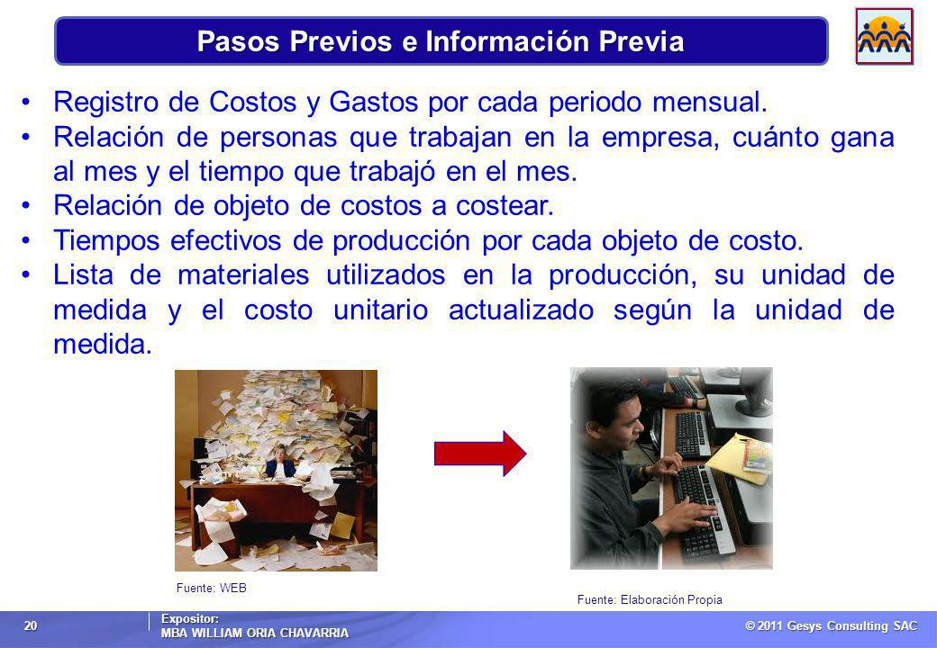Pasos Previos e Información Previa