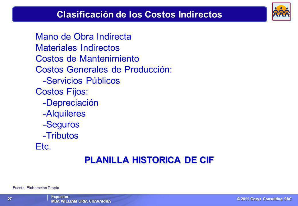 Clasificación de los Costos Indirectos
