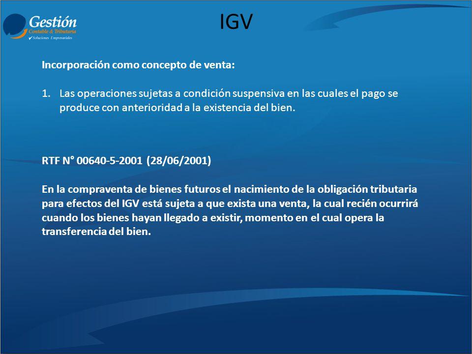 IGV Incorporación como concepto de venta: