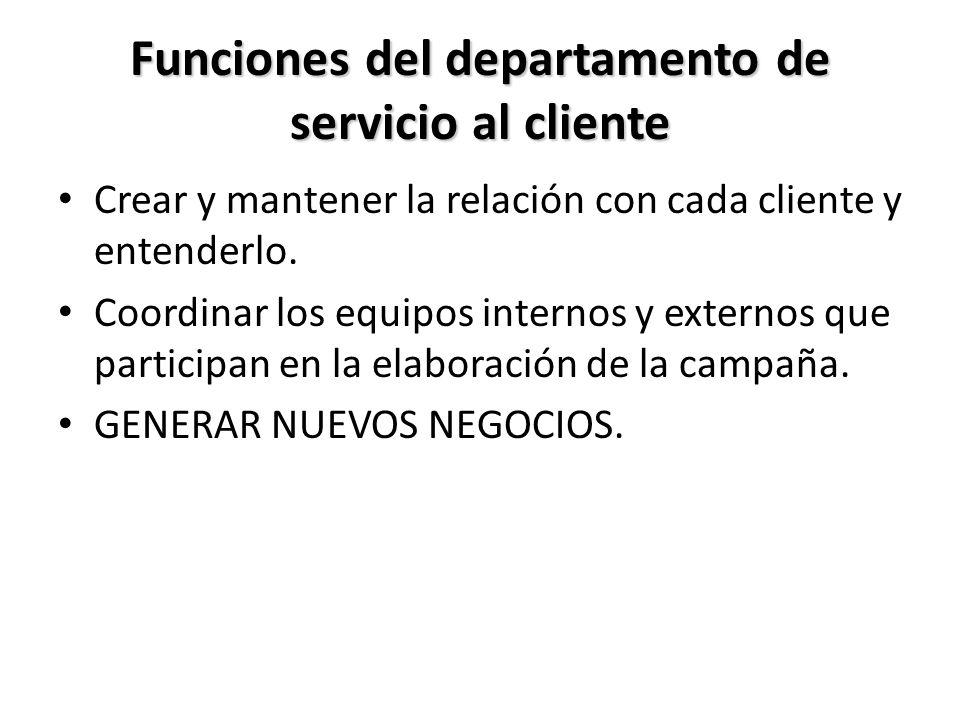 Funciones del departamento de servicio al cliente
