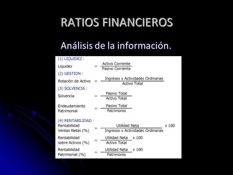 RATIOS FINANCIEROS Análisis de la información.