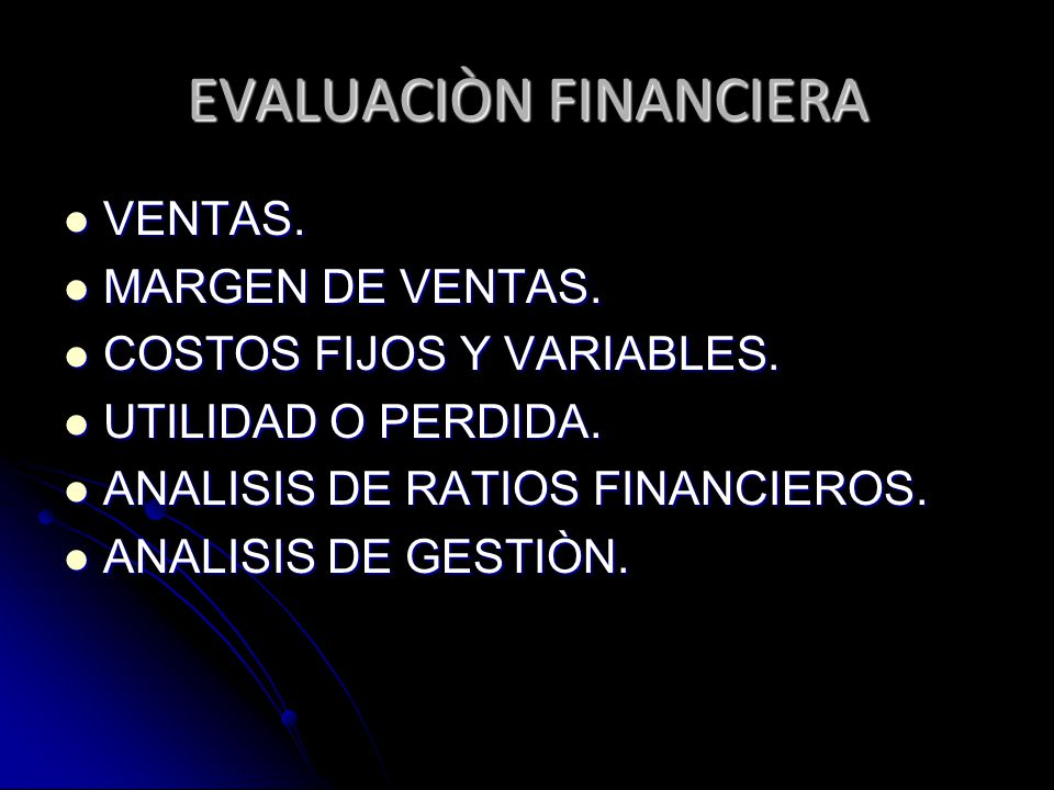 EVALUACIÒN FINANCIERA