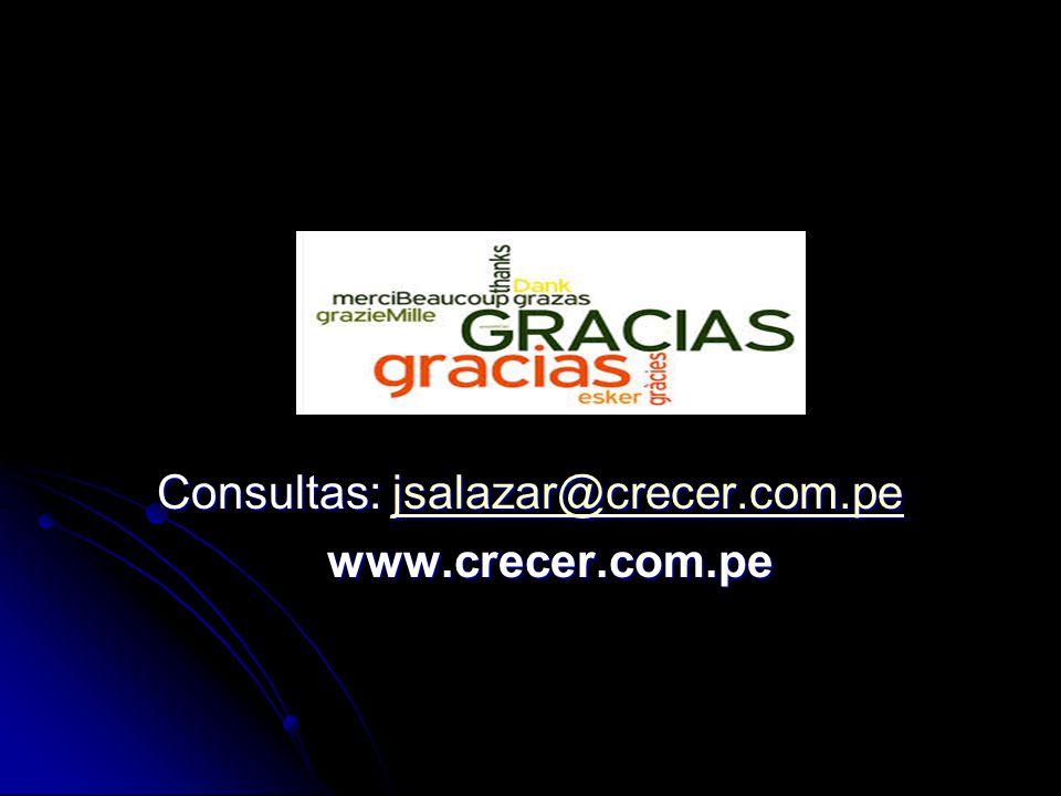 Consultas: jsalazar@crecer.com.pe