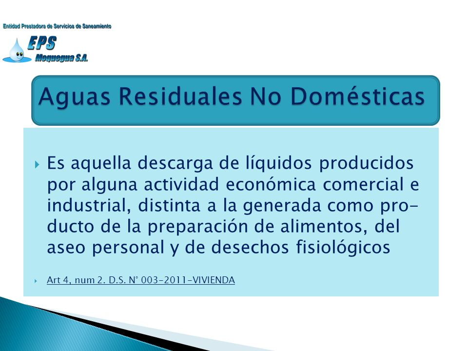 Aguas Residuales No Domésticas