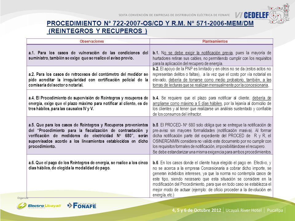 PROCEDIMIENTO N° 722-2007-OS/CD Y R.M. N° 571-2006-MEM/DM
